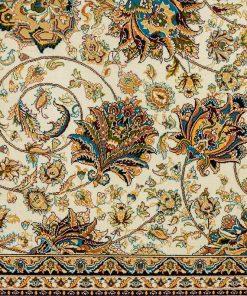 فرش ماشینی سنتی افرند طرح افشان - زمینه کرم حاشیه گلبهی