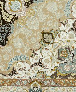 فرش ماشینی افرند طرح زرنگار - زمینه قهوه ای