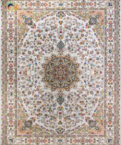 فرش ماشینی افرند 1200 شانه کد 2226 زمینه نقره ای