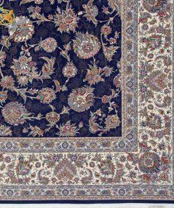 فرش ماشینی افرند زمینه سرمهای - کد 24300