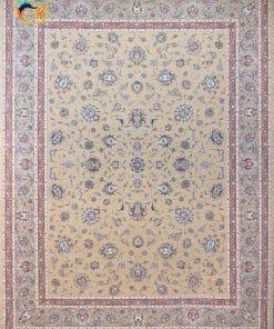 فرش ماشینی افرند دستباف نما 1250 شانه کد 24800 زمینه بژ