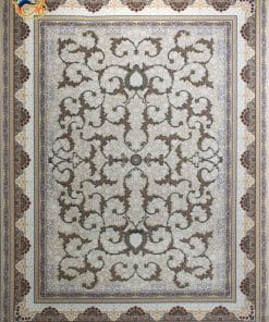 فرش ماشینی افرند 1200 شانه کد 2232 زمینه کرم
