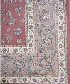 فرش ماشینی دستباف نما افرند زمینه گلبهی