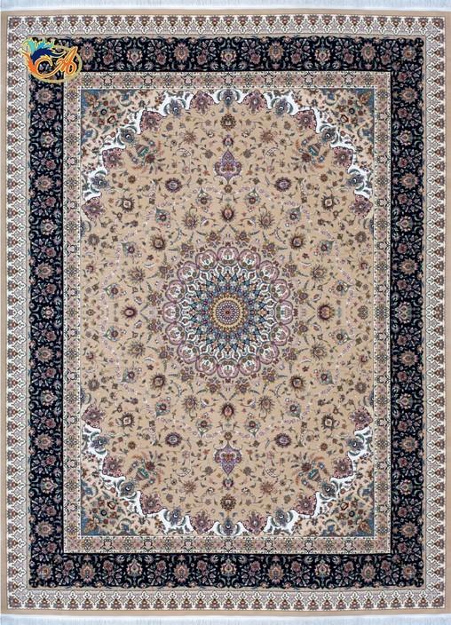 فرش ماشینی دستباف نما افرند کلکسیون گل ابریشم زمینه بژ