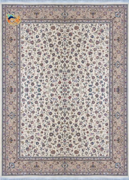 فرش ماشینی دستباف نما افرند کلکسیون گل ابریشم زمینه موزی
