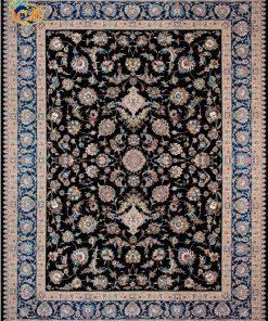 فرش ماشینی افرند 700شانه زمینه سرمهای کد 7746