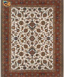 فرش ماشینی افرند 700شانه زمینه کرم حاشیه گلبهی کد 7746