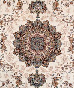 فرش ماشینی افرند 700شانه زمینه کرم حاشیه گلبهی کد 7748