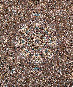 فرش ماشینی افرند 700شانه زمینه گردویی کد 7744