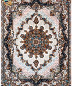 فرش ماشینی افرند 700شانه زمینه کرم کد 7757