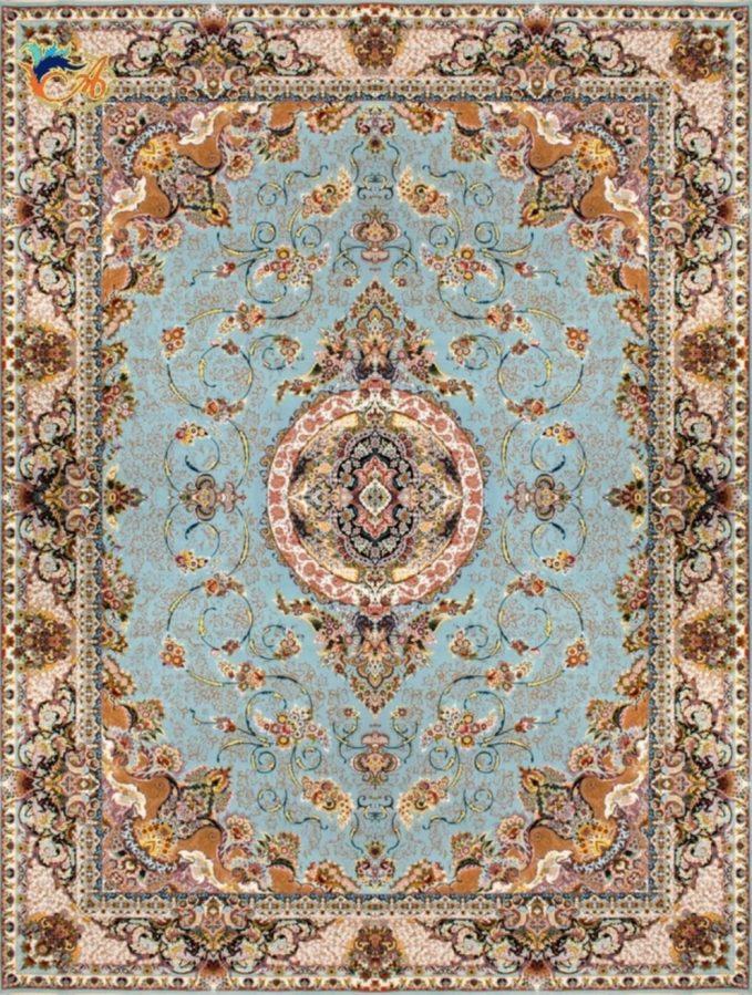 فرش ماشینی افرند ۱۲۰۰ شانه گل برجسته زمینه آبی کد ۲۲۳۱