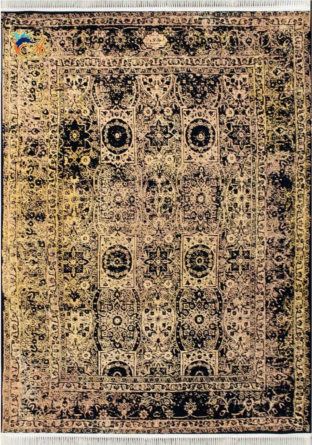 فرش ماشینی افرند ۱۲۰۰ شانه گل برجسته زمینه سرمه ای کد ۱۵۱۴