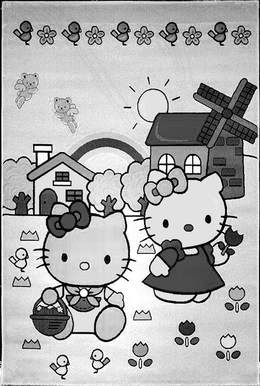 تصویر سیاه و سفید فرش کودک افرند مدل کیتی
