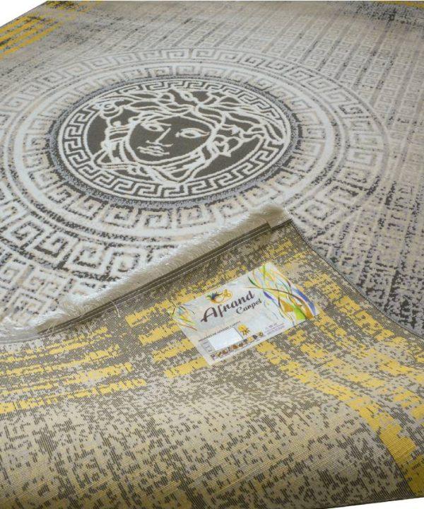 فرش ماشینی افرند 500 شانه گل برجسته طرح ورساچه کد 6632